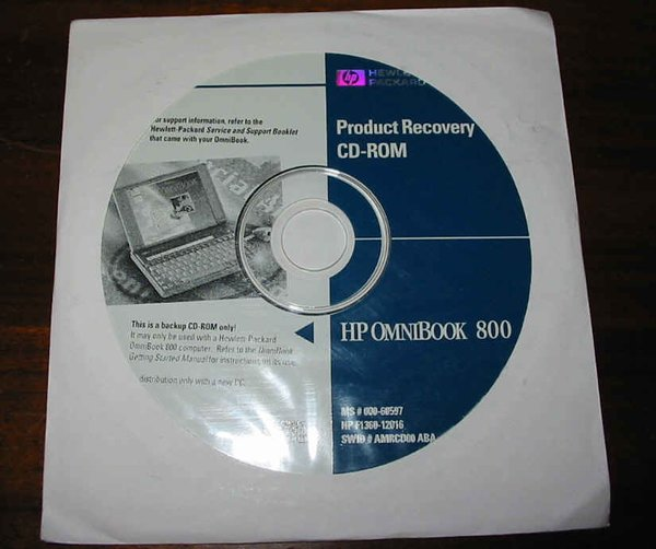 HP OmniBook 800CT 5/166 Genuine Recovery Restore CD-ROM