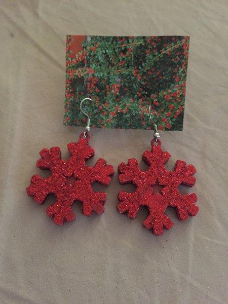 Red Snowflake Earrings