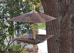 Easy Fill' copper/brass Square Bird Feeder #3102-SQ