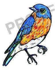 Blue Bird Watercolor Print
