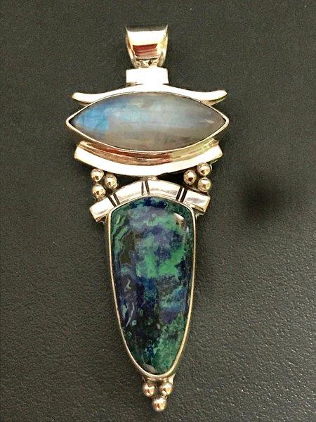 Rainbow moonstone and azurite malachite silver pendant mystical rainbow moonstone and azurite malachite silver pendant mozeypictures Images