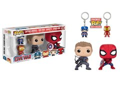 Funko POP! Marvel 4 pack HAWKEYE SPIDERMAN and 2 keychains
