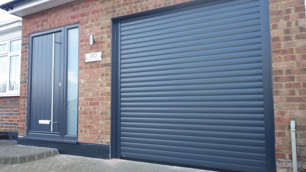 8x8 garage doorEG55 8X8 ANTHRACITE ELECTRIC ROLLER SHUTTER GARAGE DOOR