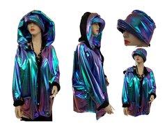 Sleek irredescent zip jacket and hat