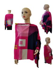 Babbitt Aymmetrical Poncho - pink multicolor