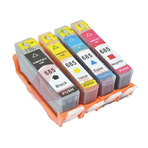 Dubaria 685 Black, Cyan, Magenta & Yellow - All four Color Ink Cartridges Combo For HP Deskjet Ink Advantage 3525, 4615, 4625, 5525, 6525 e-All-in-One Printers