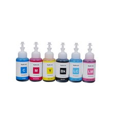 Dubaria Refill Ink For Epson L805 Ink Tank Printer - 6 Colors - 70 ML Each Bottle - Magenta, Yellow, Cyan, Black, Light Cyan & Light Magenta