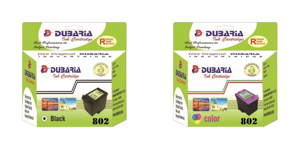 Dubaria 802 Ink Cartridge Combo Pack Compatible for Use In DeskJet 1000, 1010, 1011, 1050, 1510, 1511, 2000, 2050, 3050, J210, J310, J610