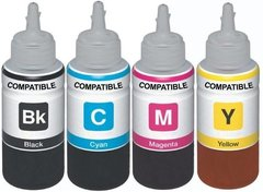 Dubaria T6641, T6642, T6643 & T6644 Compatible Refill Ink For Epson T6641 For Use In Epson L100 / L110 / L200 / L210 / L220 / L300 / L350 / L355 / L365 / L550 Printers - 100 ML Each Bottle - Cyan, Magenta, Yellow & Black