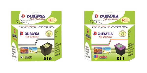 Dubaria 810 Black and 811 TriColor Ink Cartridge Combo Compatible For Canon PG-810 & CL-811 Ink Cartridges