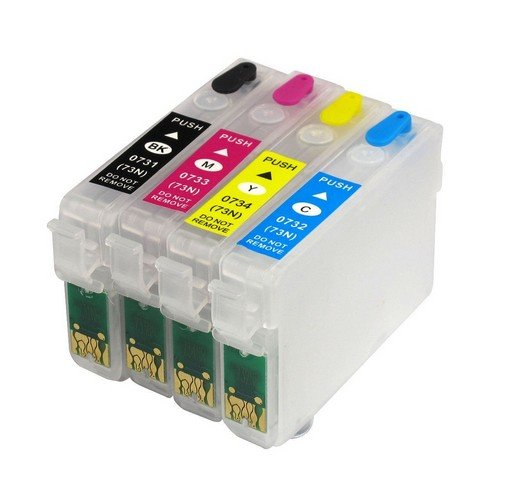 Dubaria Empty Refillable 73N Compatible Ink Cartridges For Epson T031N / 32N / 33N / 33N for Use In All Epson Printer TX210 / T13 / TX121