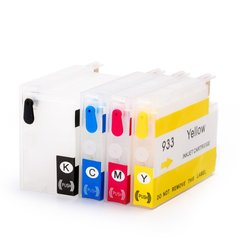 Dubaria Empty Refillable Ink Cartridges Compatible For HP 932 & 933 For Use In HP OfficeJet 6100, 6600, 6700, 7110, 7610, 7612 Printers - Combo Value Pack (Cyan, Yellow, Magenta, Black)