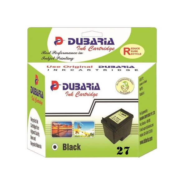 Dubaria 27 Black Ink Cartridge For HP 27 Black Ink Cartridge