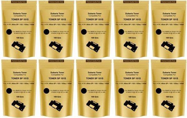 Dubaria SP 100 / SP 200 / SP 300 / SP 111 / SP 1200 / SP 3510 Toner Powder Compatible For Ricoh SP 100 Black Toner Pouch - Pack of 10 (100 Grams)
