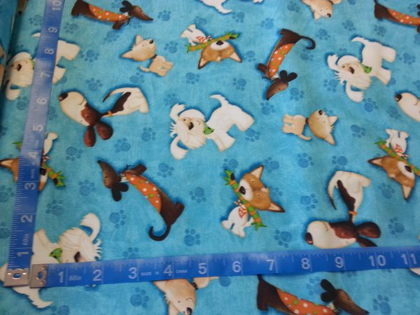 1 Yard of Quilted Treasures: Puppy Love Collection (Light Blue ... : quilted treasures - Adamdwight.com