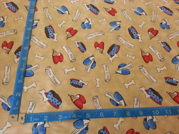 1 Yard of Quilted Treasures: A Dog's Life Collection (Tan ... : quilted treasures - Adamdwight.com
