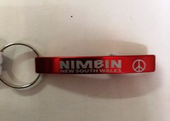 Keyring Bottle Opener - Red/Peace Sign