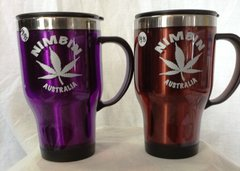 Insulated Travel Coffee Mug - Marijuana Leaf - Large