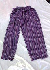 Elastic Waist Pants - Purple Stripe