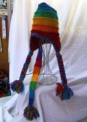 Beanie - Rainbow with Pom Poms & Tail