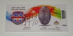 A. J. McCarron Signed Autographed Auto 2012 BCS Championship Mini Mega Ticket - Proof