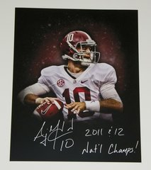 A. J. McCarron Signed Autographed Auto 16x20 Custom Photo w/2011 & 12 Nat'l Champs - Proof