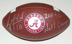 A. J. McCarron Signed Autographed Auto UA Alabama Crimson Tide Football w/2011 & 12 Nat'l Champs - Proof
