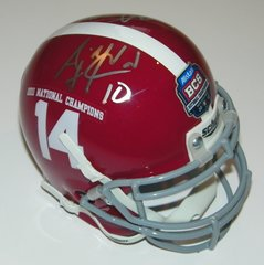 A. J. McCarron & Courtney Upshaw Signed Autographed Auto Alabama Crimson Tide 2011 BCS Mini Helmet - Proof