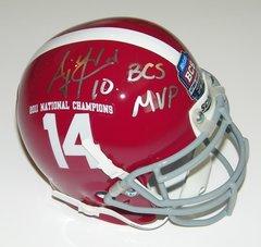 A. J. McCarron Signed Autographed Auto UA Alabama Crimson Tide 2011 National Championship Mini Helmet w/BCS MVP - Proof