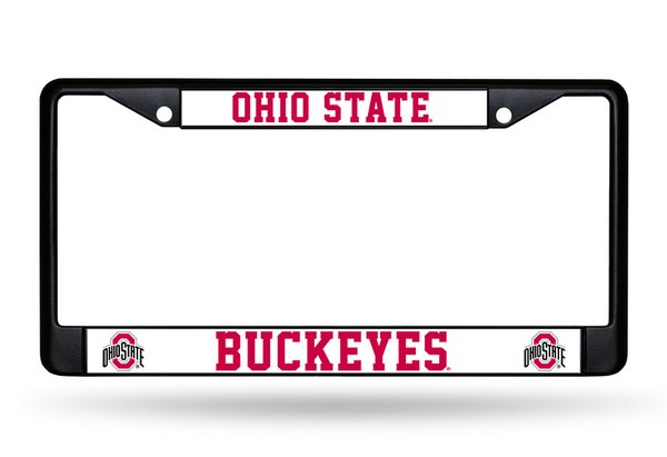 Ohio State Buckeyes BLACK Chrome Metal License Plate Frame NCAA