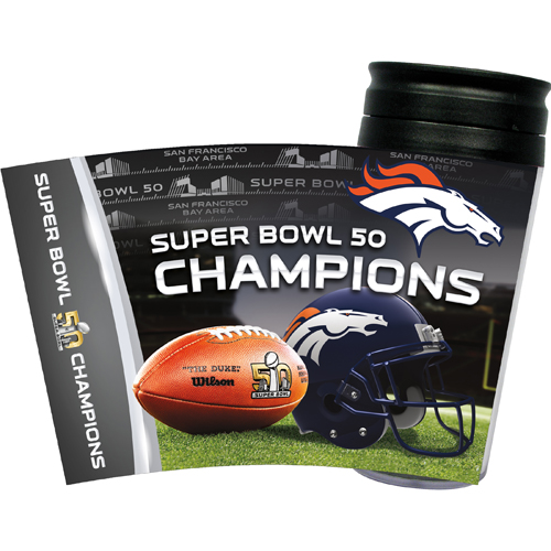 Denver Broncos Super Bowl 50 Insulated Travel Tumbler Coffee Cup NFL