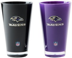 "Baltimore Ravens Acrylic 2 Pack Tumbler Cup 20oz. Round ""On Field Colors"" NFL Licensed"