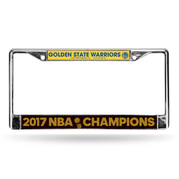 "Golden State Warriors ""2017 Finals Champions"" Chrome Metal License Plate Frame NBA"