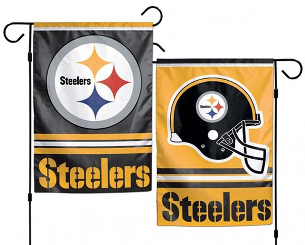 """Pittsburgh Steelers 2 Sided Garden Flag 12"""" x 18"""" NFL Licensed"""