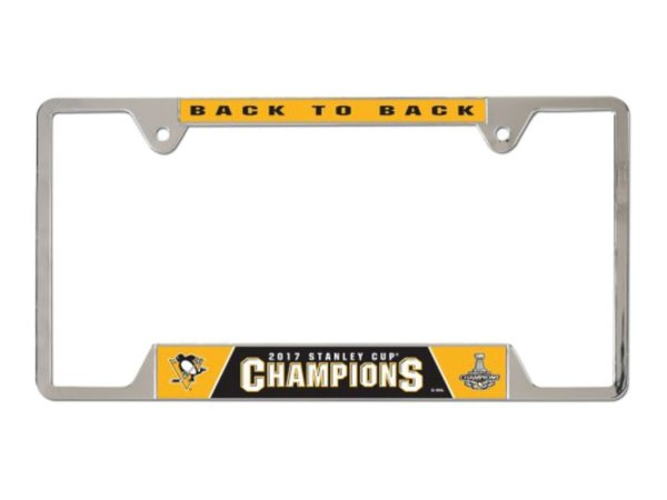 """Pittsburgh Penguins """"Back to Back Stanley Cup"""" Chrome License Plate Frame NHL"""