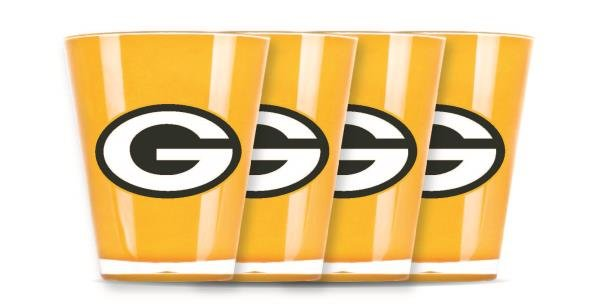 Green Bay Packers Shot Glasses 4 Pack Shatterproof NFL