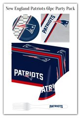 New England Patriots 61 Piece Party Pack Paper Plates Napkins Forks and Tablecloth Partyware