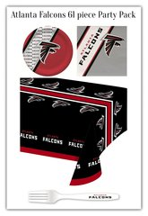 Atlanta Falcons 61 Piece Party Pack Paper Plates Napkins Forks and Tablecloth Partyware