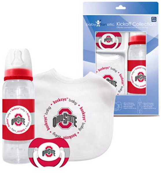 Ohio State Buckeyes Baby BIB, Pacifier, Bottle Gift Set NCAA