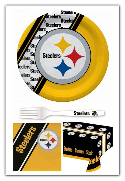 Pittsburgh Steelers 61 Piece Party Pack Paper Plates Napkins Forks and Tablecloth Partyware