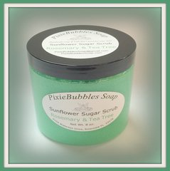 Rosemary & Tea Tree Sunflower Coconut Oil Beeswax Sugar Scrub 8 oz.