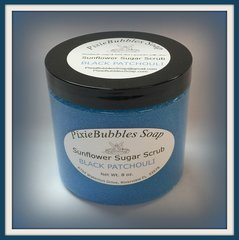Black Patchouli Sunflower Coconut Oil Beeswax Sugar Scrub 8 oz.