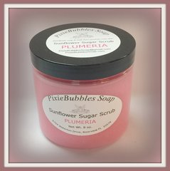 Plumeria Sunflower Coconut Oil Beeswax Sugar Scrub 8 oz.