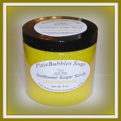 Lemongrass Sunflower Coconut Oil Beeswax Sugar Scrub 8 oz.