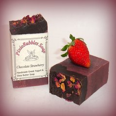 """Chocolate Strawberry"" Coconut Oil Greek Yogurt Handmade Shea Butter Soap Bar"