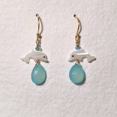 Aqua Chalcedony and Mother-of-Pearl Dolphin Earrings