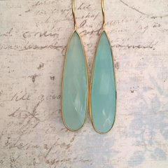 Aqua Chalcedony Drop Earrings on Gold
