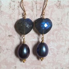 Speciality Midnight Labradorite with Navy Pearl Earrings on Gold-plated Sterling Silver