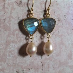 Labradorite and Freshwater Pearl Earrings on Gold-plated Sterling Silver