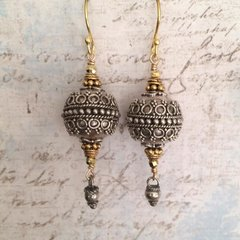 Balinese Bohemian Lantern Earrings in Solid Silver